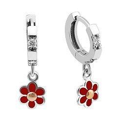 Серебряные серьги-подвески с золотыми накладками, красной эмалью, фианитами и родием 000105984