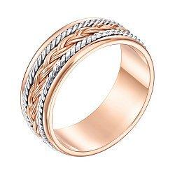 Золотое обручальное кольцо Предложение в комбинированном цвете с косичкой
