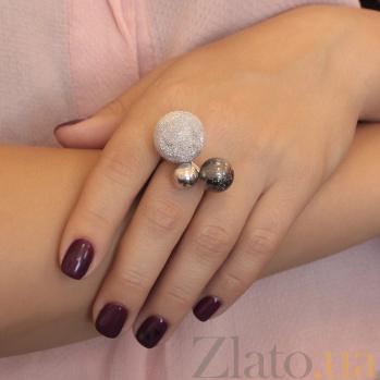 Серебряное кольцо Космос с тремя шариками разной фактуры 000079883