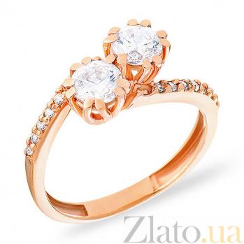 Кольцо из красного золота с цирконием Идеальная пара SUF--140395