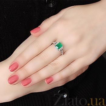 Серебряное кольцо Дария с зеленым агатом и фианитами 1656/9р агат