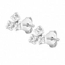 Сережки из серебра Бермудский треугольник