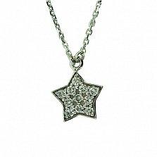 Серебряная подвеска с цирконием Звезда