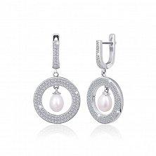 Серебряные сережки с жемчугом и цирконием Элси