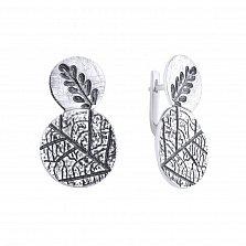 Серебряные серьги Растительный триптих с узорной поверхностью и чернением