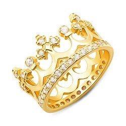 Кольцо-корона из желтого золота с фианитами 000113463