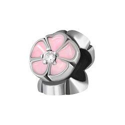 Серебряный шарм Трио магнолий с розовой эмалью и фианитами 000072111