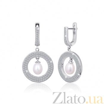 Серебряные сережки с жемчугом и цирконием Элси 000024620