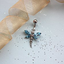 Пирсинг из белого золота с топазами и белыми сапфирами Стрекоза