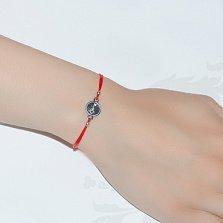 Шелковый браслет с серебряной вставкой Ключ