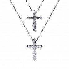Серебряное двойное колье Жизненные силы с двумя крестиками и фианитами