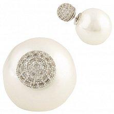 Серебряные серьги-пуссеты Нелли с имитацией жемчуга и фианитами