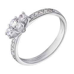 Золотое кольцо в белом цвете с фианитами 000082835