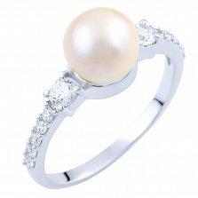 Серебряное кольцо Рикарда с жемчугом и фианитами