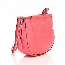 Кожаный клатч Genuine Leather 8887 кораллового цвета с замком-молнией и плечевым ремнем