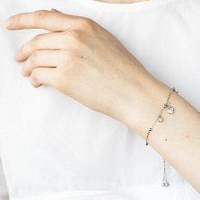 Серебряный браслет Сьюзи с подвесками сердцем и завальцованными фианитами