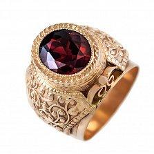 Золотой перстень-печатка Властелин с орнаментом на шинке и цирконием