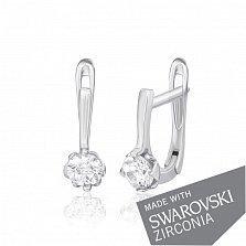 Серебряные сережки Дита с цирконием SWAROVSKI ZIRCONIA