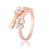 Позолоченное серебряное кольцо с фианитами Пора цветения