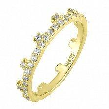 Кольцо из желтого золота с фианитами Символ власти