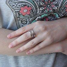 Широкое серебряное кольцо Переплетение с ажурной шинкой