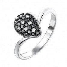 Золотое кольцо Темная капля в белом цвете с черными и белыми бриллиантами