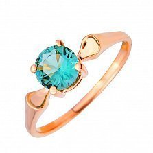 Кольцо из красного золота Жаклин с зеленым кварцем