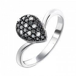 Золотое кольцо в белом цвете с черными и белыми бриллиантами 000064829