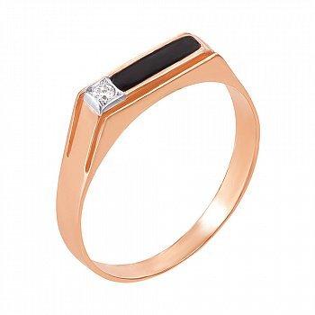 Золотое кольцо-печатка с фианитом и эмалью 000055219