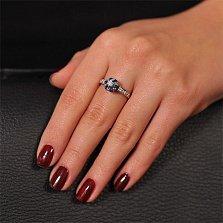 Кольцо из белого золота Джозефа с голубым топазом и бриллиантами