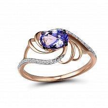 Кольцо из красного золота Надежда с бриллиантами и танзанитом