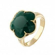 Золотое кольцо Летнее чудо с зеленым агатом и бриллиантами