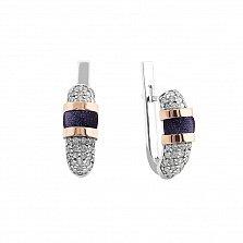 Серебряные родированные серьги Эмма с золотыми накладками, темно-синим авантюрином и фианитами