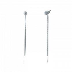 Серебряные серьги-подвески Энн с шариком и цепочками