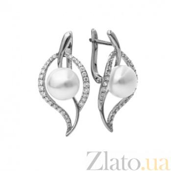 Серьги серебряные с жемчугом и цирконием Ансат SG--2145543000201