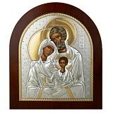 Серебряная икона Святое Cемейство с позолотой