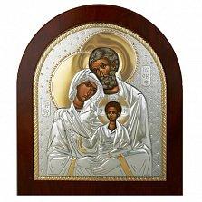 Серебряная икона Святое Cемейство с позолотой, 24х20см