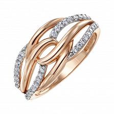 Кольцо из красного золота с фианитами 000150331