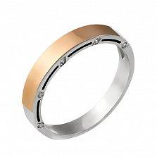 Серебряное обручальное кольцо Свет любви с золотой накладкой и фианитами