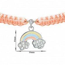 Детский плетеный браслет с эмалью и фианитами Радуга в облаках, 16-10см