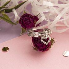 Серебряное кольцо Подвесное сердце с фианитами