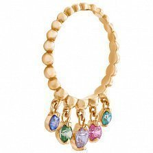Кольцо из красного золота Джая с цветными камнями Swarovski