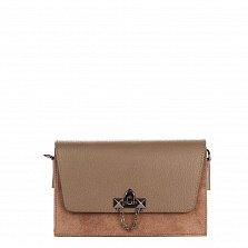 Кожаный клатч Genuine Leather 1638 серо-коричневого цвета с металлическим замком и плечевым ремнем