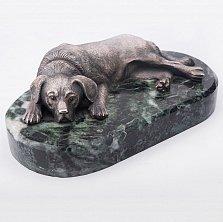 Серебряная статуэтка ручной работы Отдыхающий пес