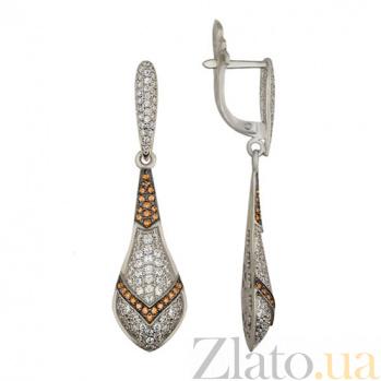 Серьги-подвески из белого золота с фианитами Фрида VLT--ТТ297