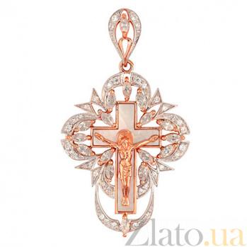 Крест Спасение в красном золоте с цирконием VLT--КП3409