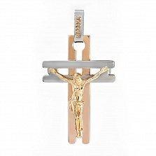 Двусторонний золотой крест с бриллиантами Духовный защитник