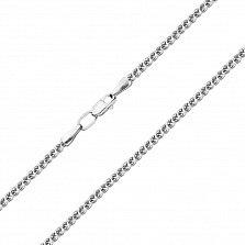Серебряная родированная цепочка Косичка объемного плетения, 2мм