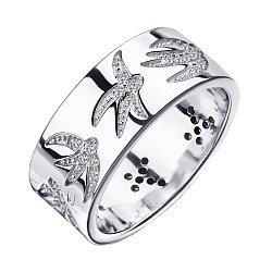 Серебряное кольцо Полет ласточек с фианитами