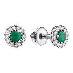 Серебряные серьги-пуссеты Солнышко с зеленым агатом и цирконием, 6мм